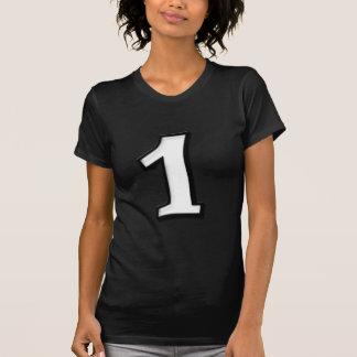 Fåniget numrerar damer för 1 vit T-tröja Tröjor