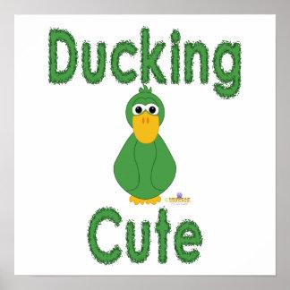 Fånigt grönt ducka för anka som är gulligt affisch