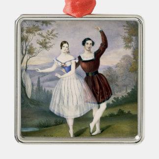 Fanny Cerrito (1817-1909) och Sigr. Guerra i Julgransprydnad Metall