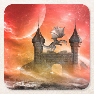 Fantasi drake på slottet underlägg papper kvadrat