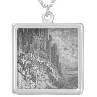 Fantasin landskap med townen och rockerar silverpläterat halsband