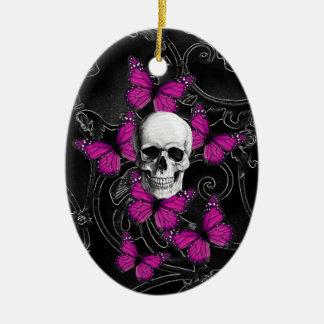 Fantasiskalle- och shock rosafjärilar julgransprydnad keramik