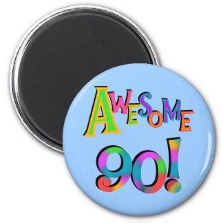 Fantastisk 90 födelsedagT-tröja och Gifs Magnet Rund 5.7 Cm