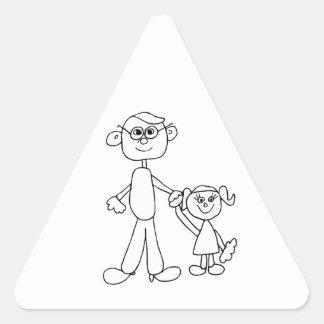 Far och dotter triangelformat klistermärke