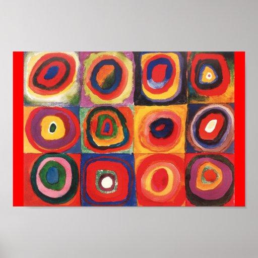 Farbstudie Quadrate - färgrik konst Print