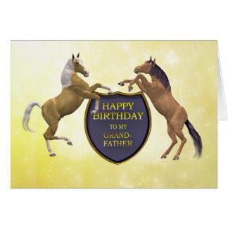 Farfar ett födelsedagkort med att fostra hästar hälsningskort
