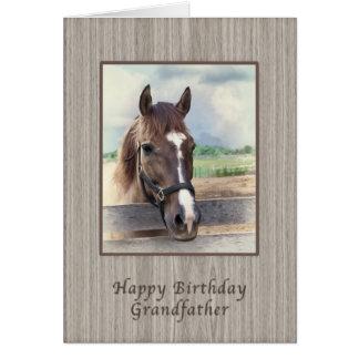Farfar födelsedag, brun häst med tygeln hälsningskort