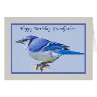 Farfar födelsedagkort med den blåttJay fågeln Hälsningskort