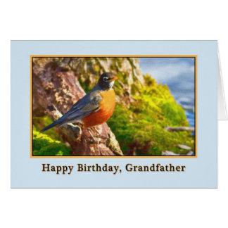 Farfar födelsedagkort med Robin på en logga Hälsningskort