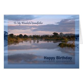 Farfar sjö på gryningfödelsedagkortet hälsningskort