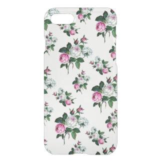 Färg för rosa vit ros för vintageshabby chic iPhone 7 skal