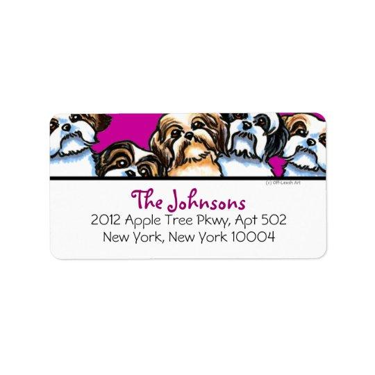 Färg för stilsort för Shih Tzu hundar flickaktigt Adressetikett