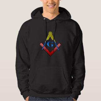 Färg kvadrerar och omringar hoodien munkjacka