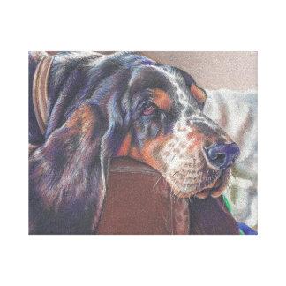 färg ritar teckningen av bassethundhunden på canvastryck