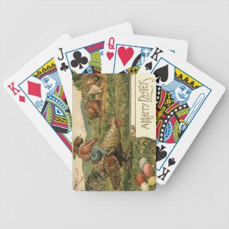 Färgad äggridning för påskhare tupp spelkort
