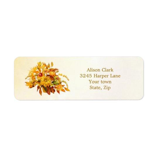 Färgad höst löv- och blommaetikett returadress etikett
