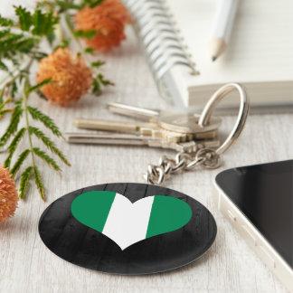 Färgad Nigeria flagga Rund Nyckelring