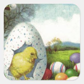 Färgade ägget för påskchicken landskap det bomull fyrkantigt klistermärke