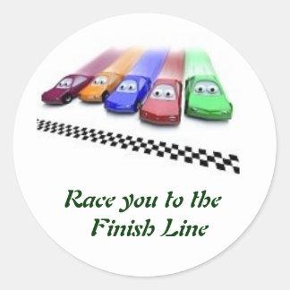 färgade bilar, tävling dig till mållinjen runt klistermärke