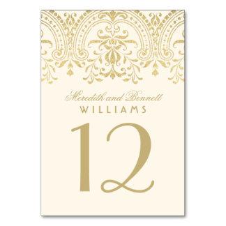 Färgade elfenben och guld för bröllopbordsnummer |
