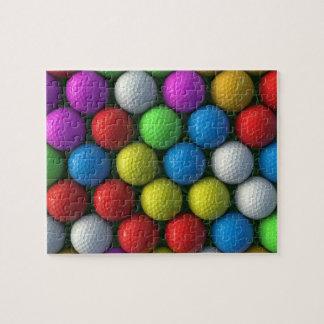 Färgade golfbollar för pussel  