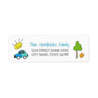 Färgaden klottrar adressetiketter/bil returadress etikett