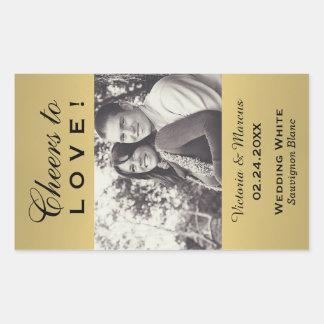 Färgat guld gifta sig favör för fotovinflaska rektangulärt klistermärke