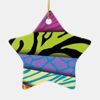 Färger för djurt tryck för sebra tillfogar olika stjärnformad julgransprydnad i keramik