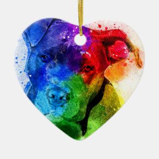 Färgerna av kärlek är en Pitbull Julgransprydnad Keramik