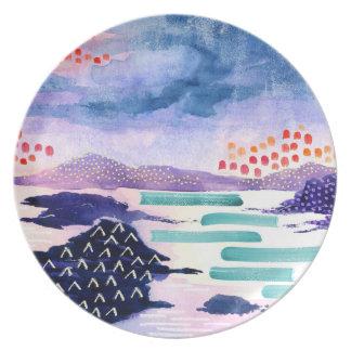 Färgglad abstrakt landskap målning pläterar tallrik