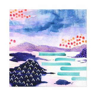 Färgglad abstrakt skotsk fjord utskrivaven kanfas canvastryck