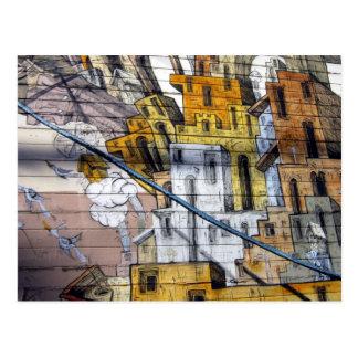Färgglad grafittihusdesign i San Francisco Vykort