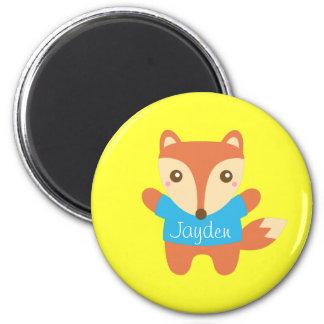 Färgglad gullig lite räv, för barn magnet rund 5.7 cm