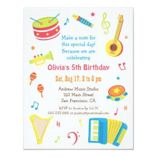 Färgglad musik instrumenterar barns 10,8 x 14 cm inbjudningskort