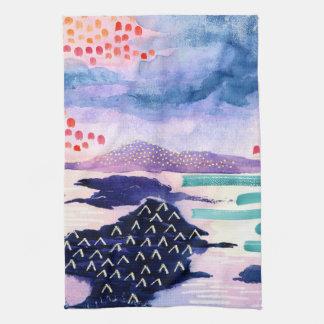 Färgglad och rolig handduk för akvarellmålningTea Kökshandduk