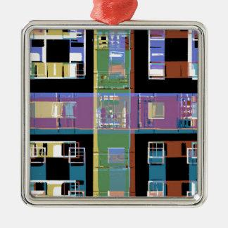 Färgglada abstrakt stadslägenheter julgransprydnad metall