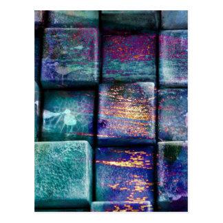 Färgglada kubkvarter kvadrerar Splattered Splat Vykort