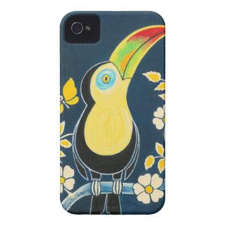 Färgglada Toucan på marinblåa himmel- & vitblommor iPhone 4 Cases
