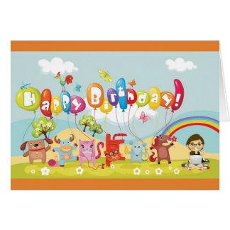 Färgglatt barns födelsedagkort hälsningskort