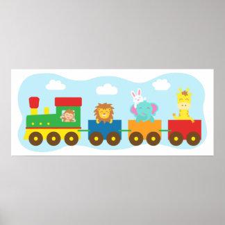 Färgglatt gulligt djurt tåg, för barnrum poster