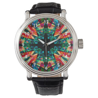 Färgglatt kaleidoscopemönster armbandsur