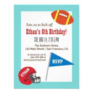 Färgglatt party för fotbollhjälmbarns födelsedag tillkännagivanden