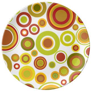 Färgglatt retro bubblar porslinstallrik