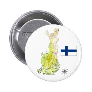 Färgkartan av Finland som drar emblem, klämmer Standard Knapp Rund 5.7 Cm