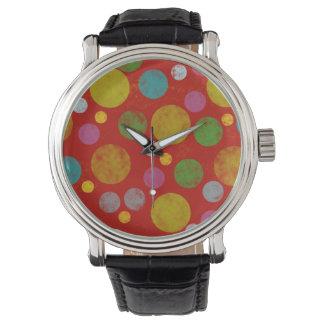 färgpolka dotsmönster armbandsur