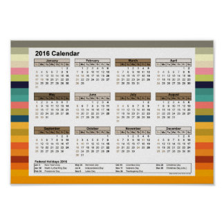 Färgrandar i färgrik DinA4 kalender-USA 2016 Poster