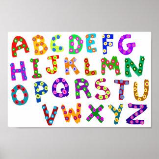 Färgrik ABC-polka dots som drar för barnrum Poster