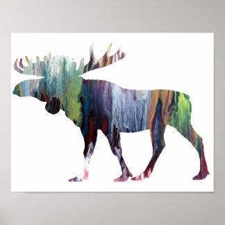 Färgrik abstrakt älgsilhouette poster