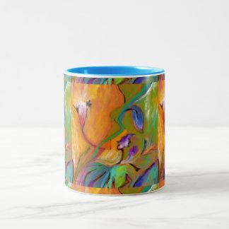 Färgrik abstrakt blom- MUGG