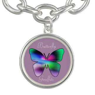 Färgrik abstrakt fjäril berlockarmband